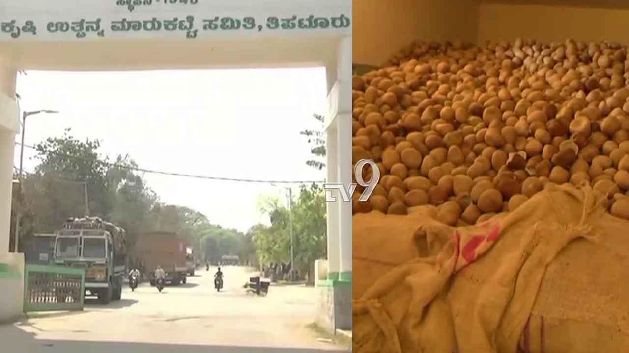 ಕೊರೊನಾ ಎಫೆಕ್ಟ್: ತಿಪಟೂರು ಮಾರುಕಟ್ಟೆಯಲ್ಲಿ ಕೊಳೀತಾ ಬಿದ್ದಿದೆ ಕೊಬ್ಬರಿ